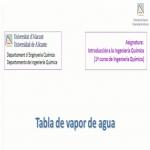 Tabla de vapor de agua